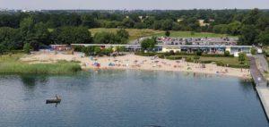 Strand Bitterfelder Hafenpromenade vom Pegelturm aus