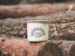 Tasse mit Aufschrift Happy Camping Goitzsche
